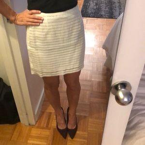 NWT J.O.A. White Striped Mini Skirt Size S